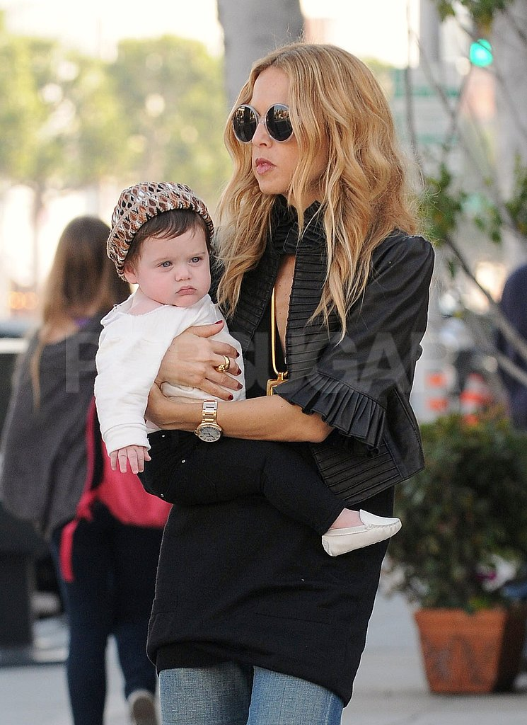 Rachel Zoe kept baby Skyler warm with a leopard-print hat.