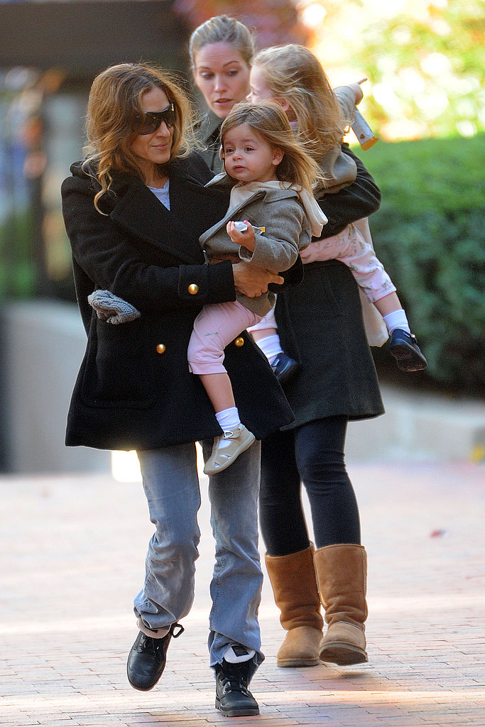 Sarah Jessica Parker in NYC with twins Tabitha Broderick and Loretta Broderick.