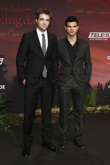 Taylor Lautner with Robert Pattinson at the Breaking Dawn Part 1 premiere in Germany.