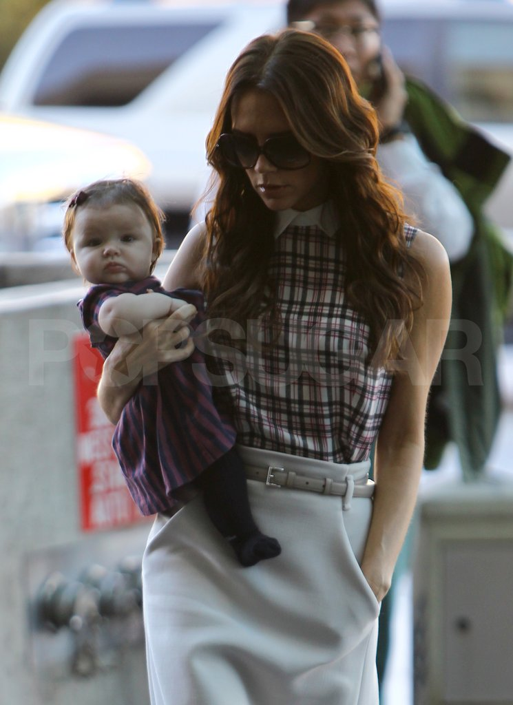 Victoria Beckham and Baby Harper Dress Up For a Trip to London