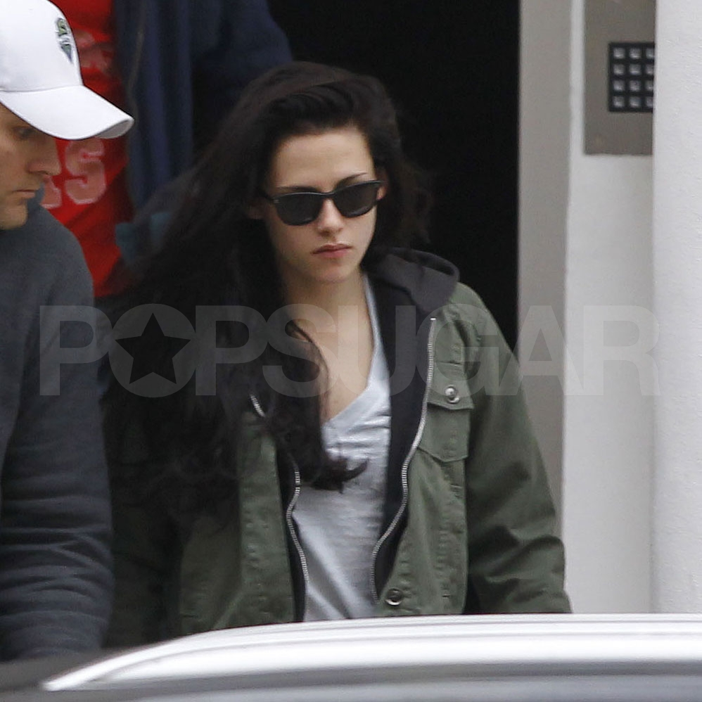 Kristen Stewart heads out to work in London.