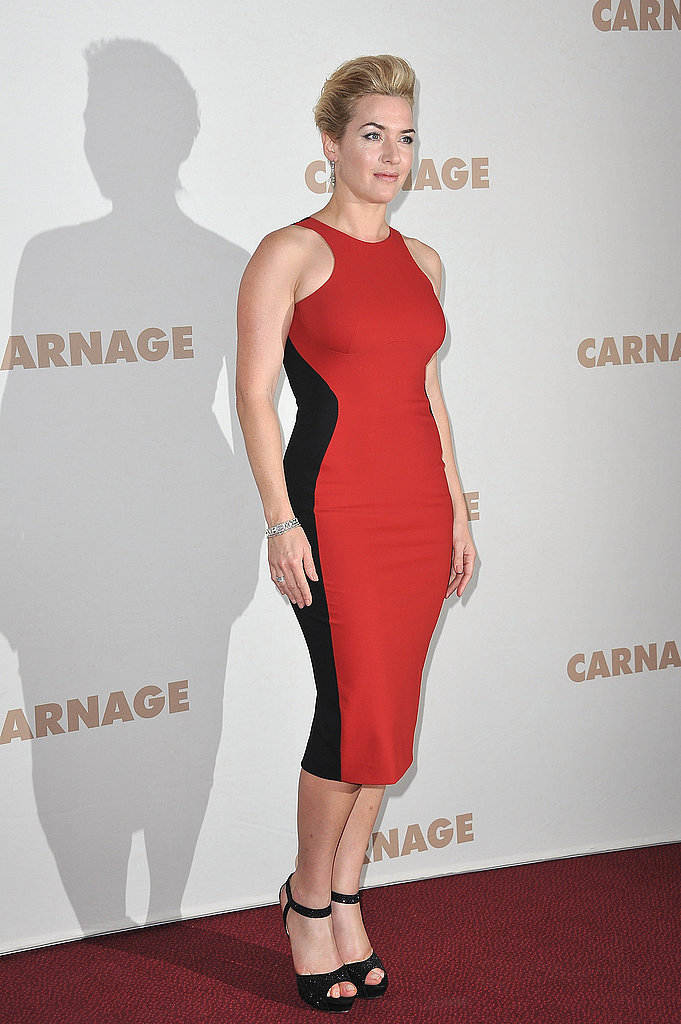 Kate Winslet at the Paris premiere of Carnage.