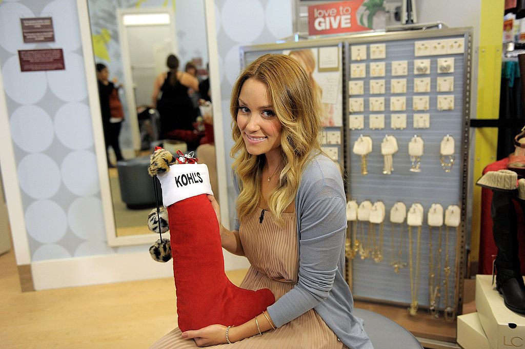 Lauren Conrad with a Kohl's stocking.