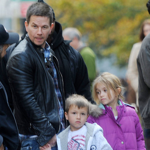 Mark Wahlberg With Kids Michael and Ella Pictures on Set