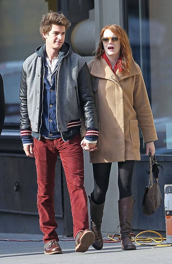 Emma Stone and Andrew Garfield held hands.