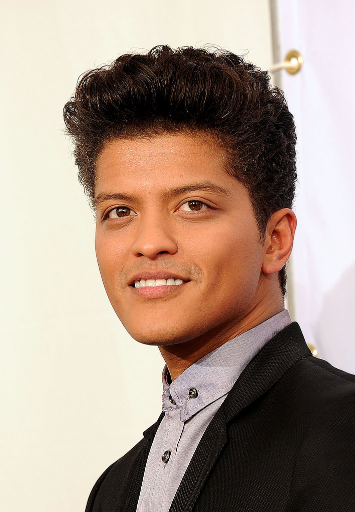 Bruno Mars smiled in the press room.