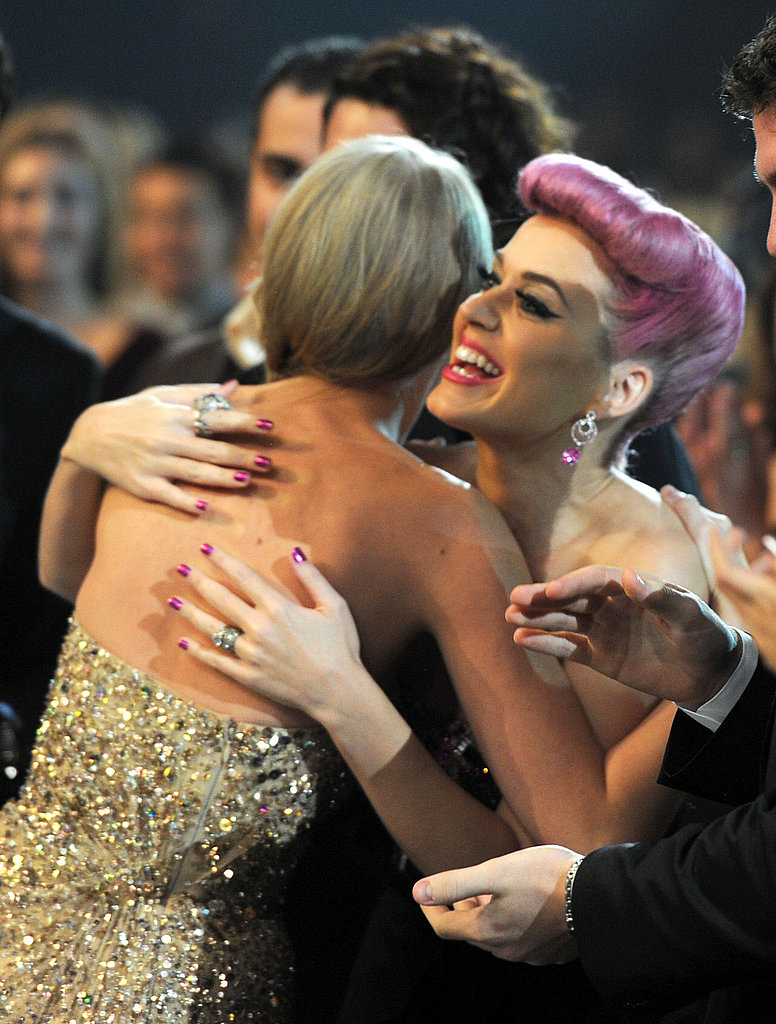 Taylor and Katy hug it out.