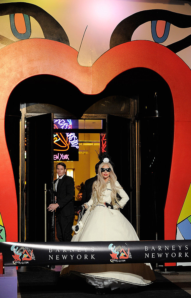 Lady Gaga at the entranceway to Gaga's Workshop.