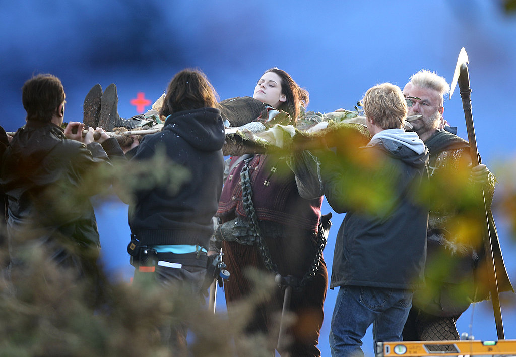 Kristen Stewart filming Snow White and the Huntsman in London.