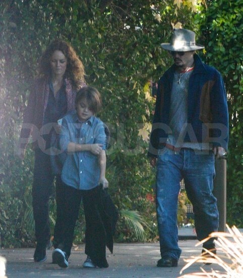 Johnny Depp and Vanessa Paradis walk in LA with son Jack Depp.