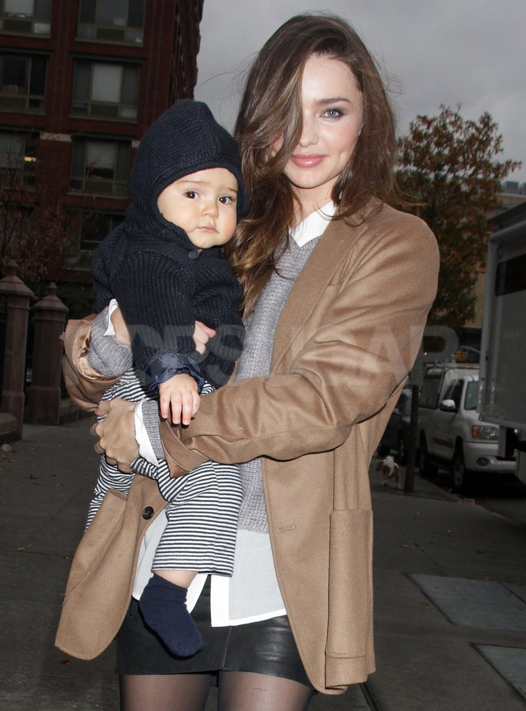 Miranda Kerr wore a leather skirt with tights.