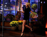 Cameron Diaz arrived to talk to Jay Leno in a LBD.