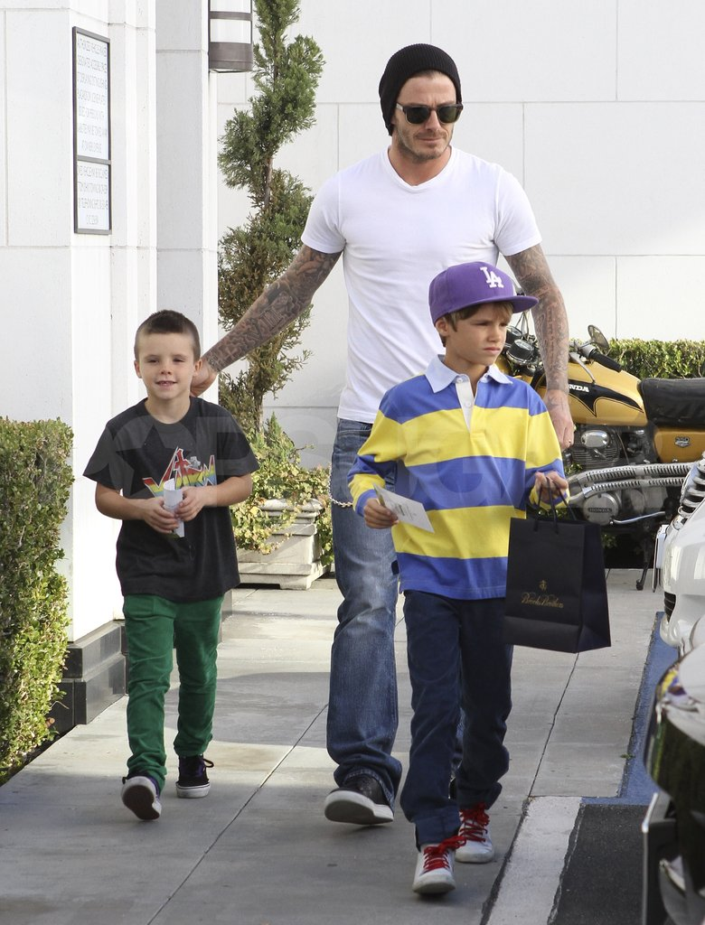 David Beckham in LA with Cruz Beckham and Romeo Beckham.