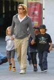 Brad Pitt headed home with Shiloh Jolie-Pitt, Zahara Jolie-Pitt, Pax Jolie-Pitt, and Maddox Jolie- Pitt