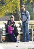Peter Sarsgaard and possibly pregnant Maggie Gyllenhaal took their daughter, Ramona, for a bike ride in NYC.