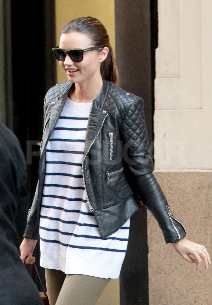 Miranda Kerr mixed sweet stripes with a strong leather jacket.