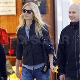 Gwyneth Paltrow in a black jacket at Heathrow.