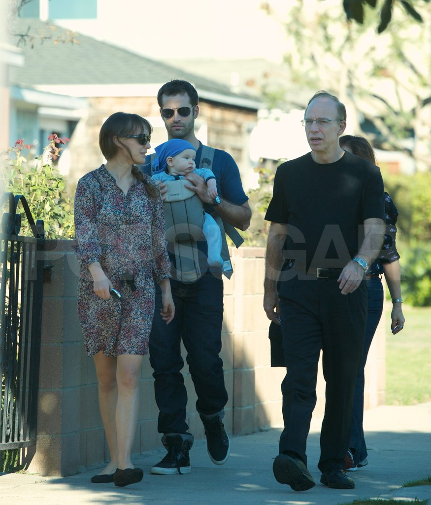 Natalie Portman and Benjamin Millepied walked in LA with son Aleph Millepied and her parents.