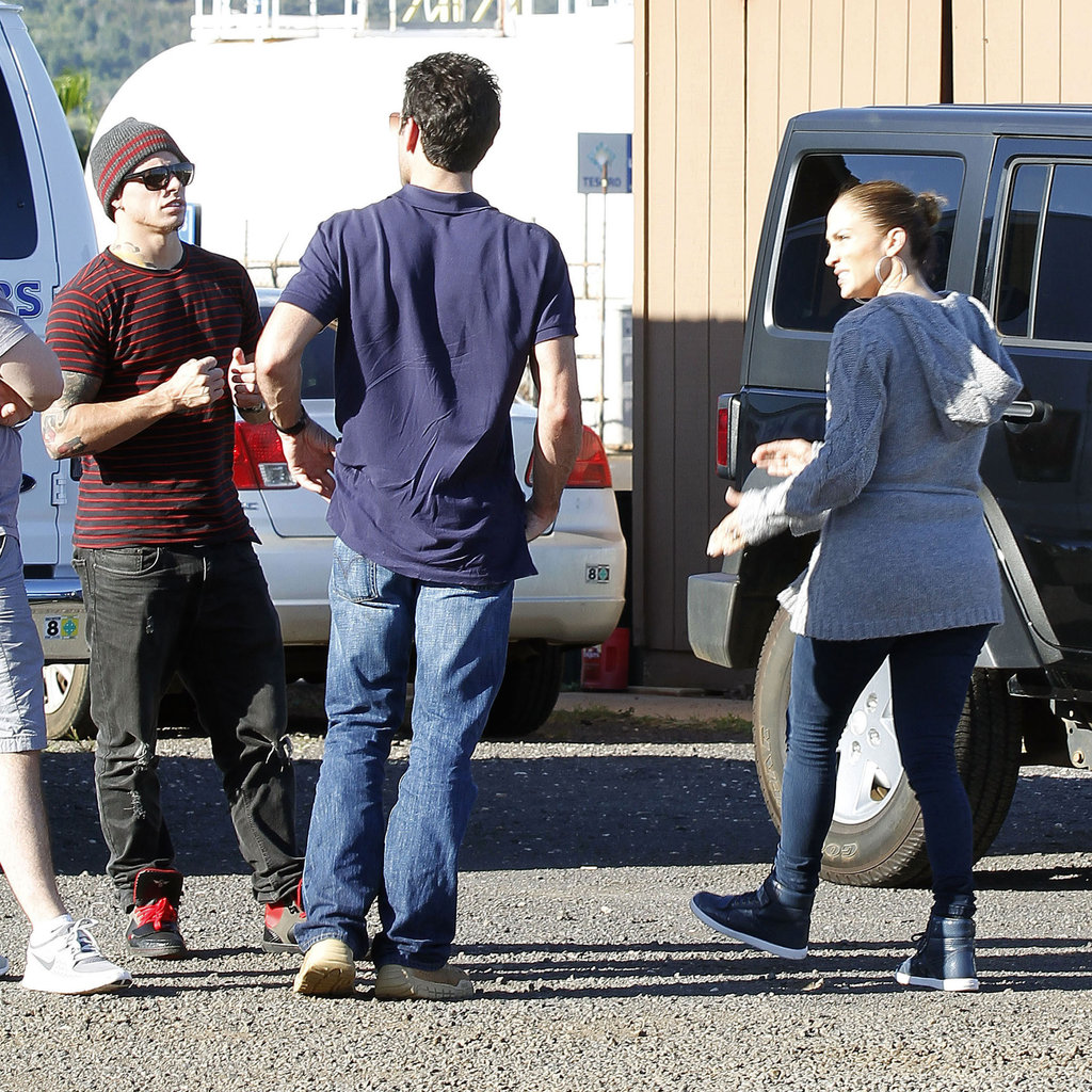 Jennifer Lopez and Caspar Smart at a heliport in Hawaii.