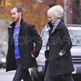 Anne Hathaway and Adam Shulman in NYC after getting engaged.