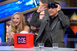 Amanda Seyfried laughed, while Justin Timberlake put on goggles.