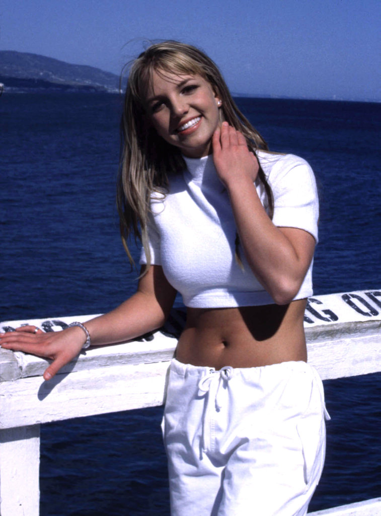 "Britney Spears got dressed to perform on location in LA for her 1999 video ""Sometimes."""