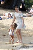 Emme Athony took a walk along the beach with Jennifer Lopez.