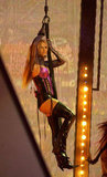 Britney Spears hung from a harness at the 2003 Annual American Music Awards in LA.