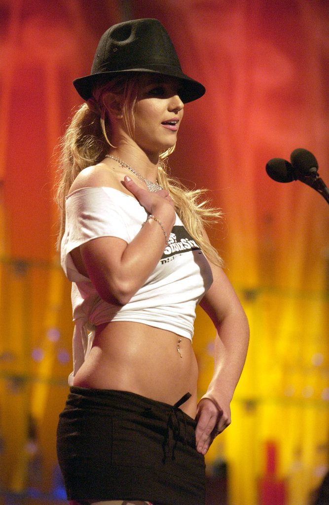 Her abs were on display at an MTV show in June 2003.