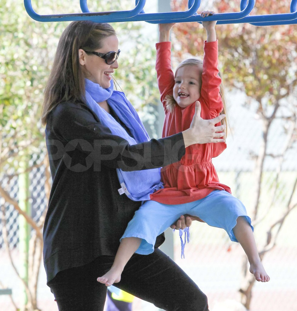 Jennifer Garner at a Brentwood park with Seraphina Affleck.