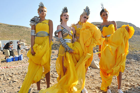 Designer Michael Cinco created the yellow dresses the girls wore during the shoot.  Photo courtesy of The CW
