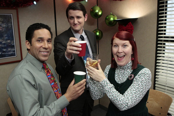 Oscar, Gabe, and Meredith are all decked out and ready for the annual Christmas party.  Photo courtesy of NBC