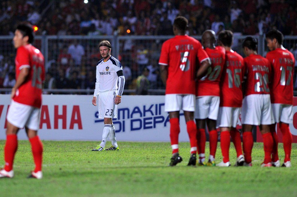David Beckham played against the Indonesia Selection team on Nov. 30.