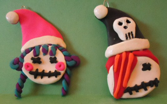 Emo Goth Skull Kids Christmas Ornament Set ($15)