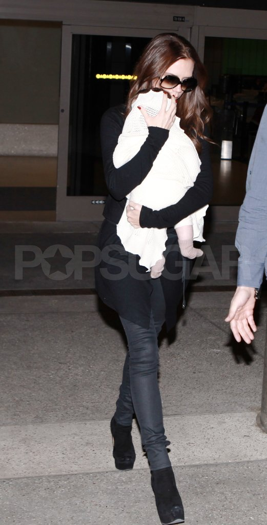 Victoria Beckham arrived back in LA from London with daughter Harper Beckham.