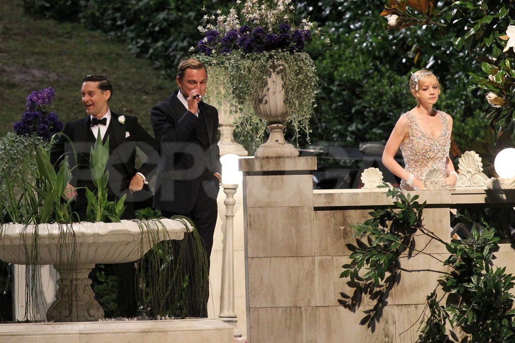 Tobey Maguire, Leonardo DiCaprio, and Carey Mulligan were all on hand to film The Great Gatsby.