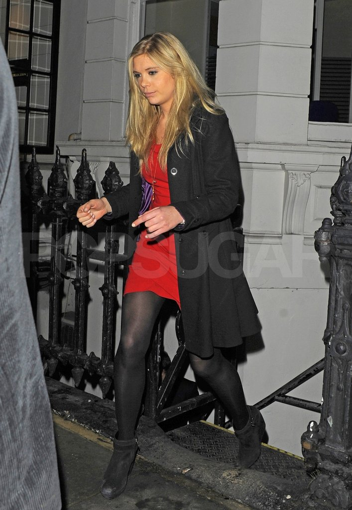 Chelsy Davy wore a red dress.