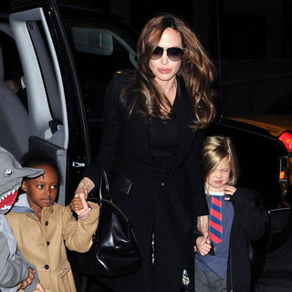 Angelina Jolie With Shiloh, Zahara, Pax at Movie Pictures
