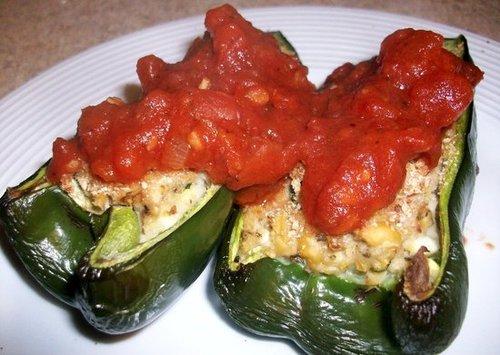 Chickpea stuffed poblano pepper
