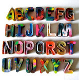 Recycled Alphabet Rainbow Crayons ($20)