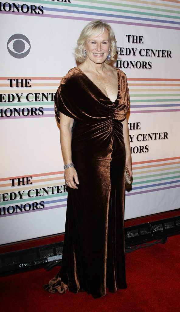 Glenn Close wore a velvet dress.