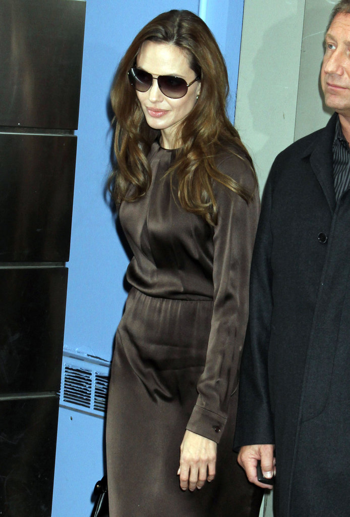Angelina Jolie leaving the Mandarin Oriental Hotel.