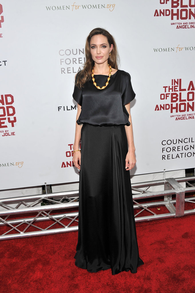 Angelina Jolie wore black to the NYC premiere of In the Land of Blood and Honey.