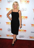 Funny lady Amy Poehler looked superchic in a simple black sheath for Trevor Live.