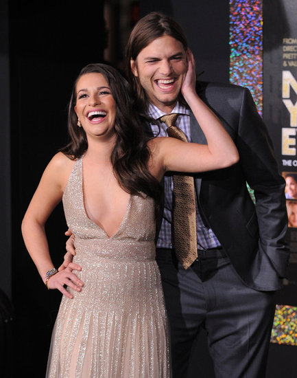 Lea Michele and Ashton Kutcher were affectionate on the red carpet.