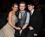 Glee castmates Lea Michele, Chris Colfer, and Kevin McHale partied together after the premiere of New Year's Eve.