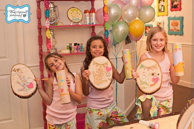 Camping themed sleepover party for girls for Arts and crafts birthday party