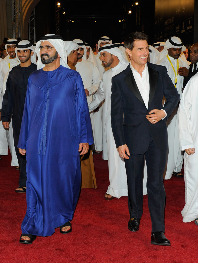 Tom Cruise arrived at the Dubai premiere of Mission: Impossible – Ghost Protocol.