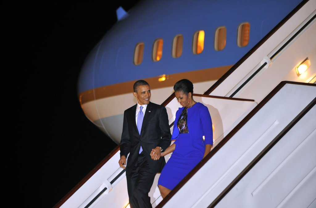The Obamas arrive in the UK for a trip in May.