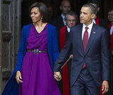 Barack held on tight to Michelle's hand after a tour of Westminster Abbey.